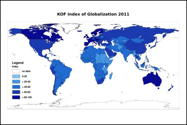 KOF index of globalization 2011