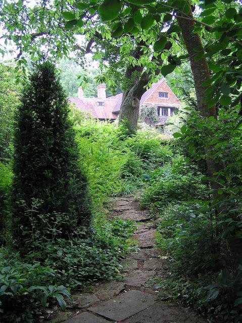 ścieżka w leśnym ogrodzie