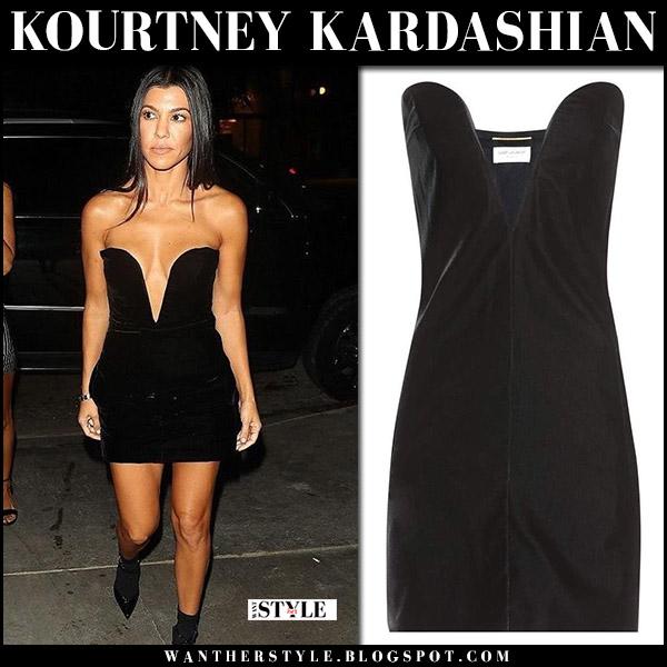 Kourtney Kardashian in black velvet mini dress saint laurent august 24 2017