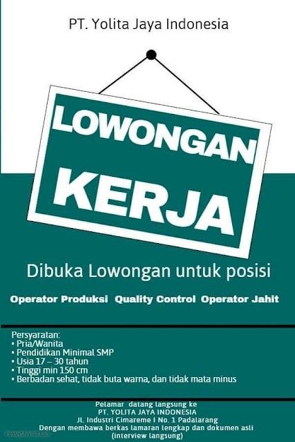 lowongan kerja operator produksi PT Yolita Jaya Indonesia