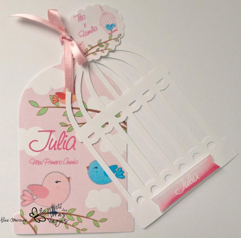 convite artesanal aniversário infantil chá de bebê gaiola de passarinho pássaros rosa e branco menina