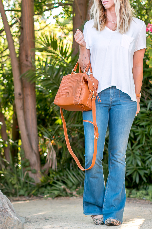 cognac woven cross body satchel