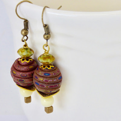 Earrings with Tree Wing Studio beads by BayMoonDesign