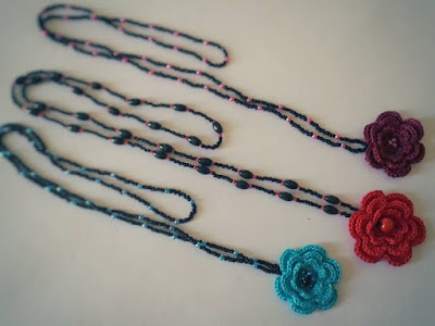 Flor a crochet flower crochet patterns esquemas abalorios collares necklace