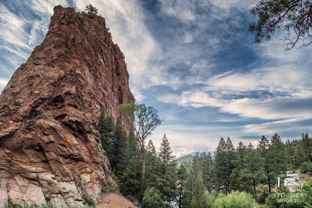 an amazing view of a rock formation along the South Platte River in Colorado