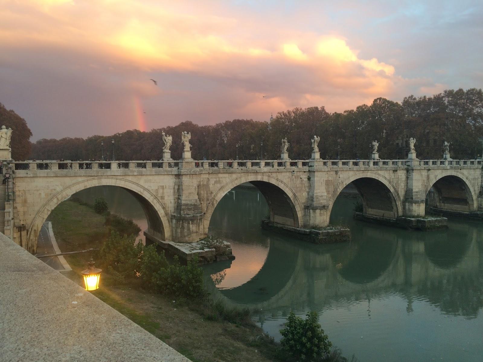 Bridge in Rome at sunset