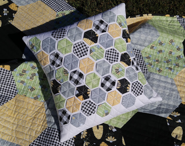 Sew Bee It fabric modern hexie quilted pillow