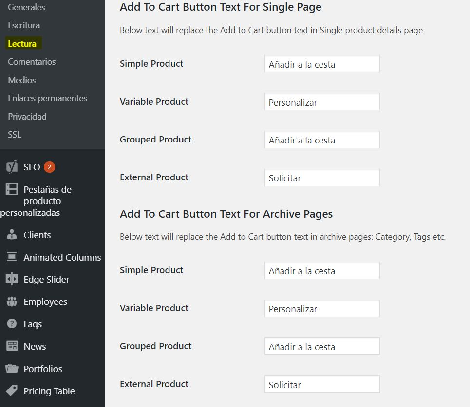 Cambiar texto añadir botón al carrito en WooCommerce