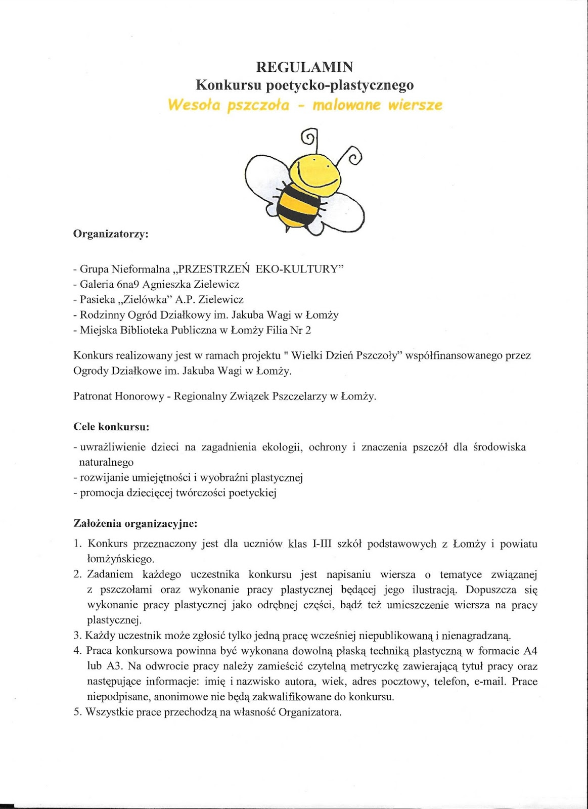 Filia Nr 2 Wesoła Pszczoła Malowane Wiersze Konkurs