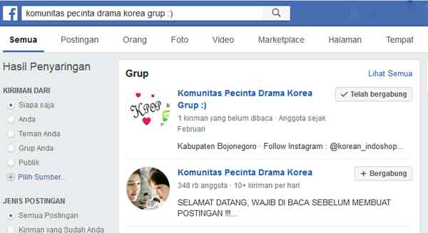 grup facebook pecinta drama korea dan kpop pengguna indonesia