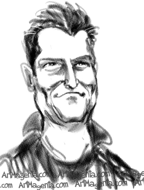 Matthew Perry caricature cartoon. Portrait drawing by caricaturist Artmagenta