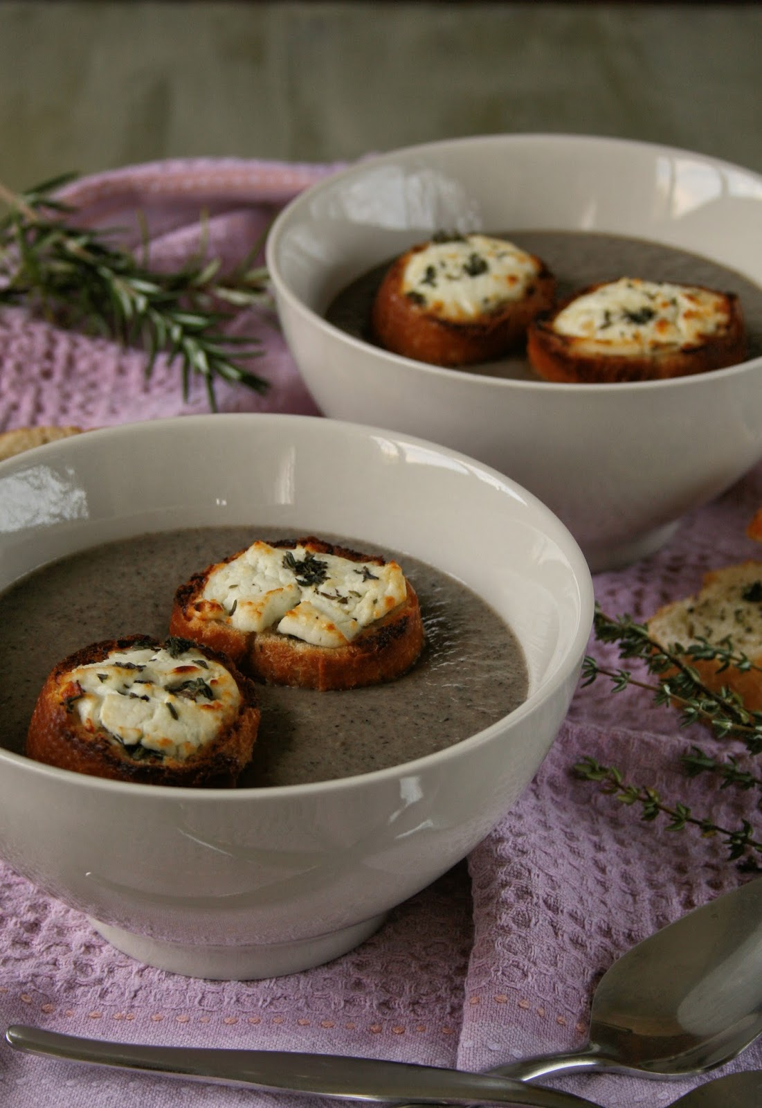 Creamy mushroom soup with chevin toasts.