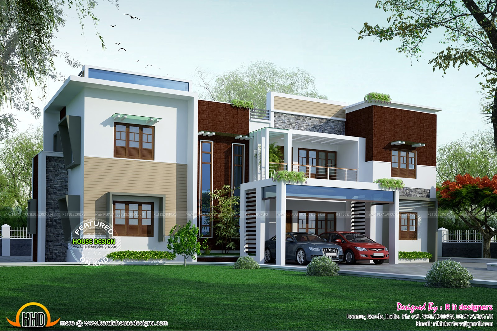 Modular Mansion Floor Plans Modern Flat Roof Contemporary Home Kerala Home Design
