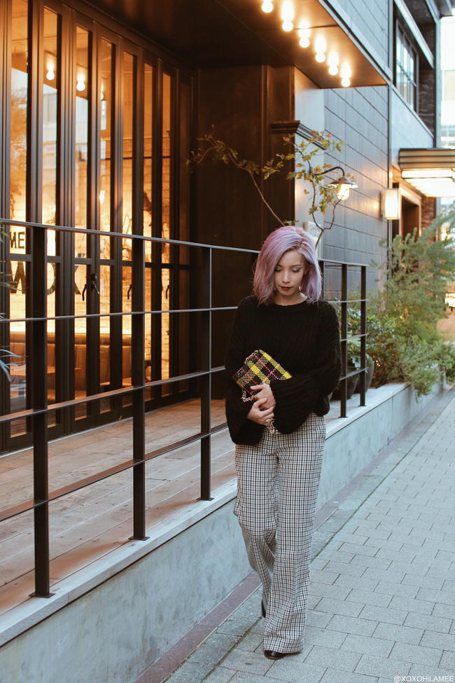 Japanese Fashion Blogger,MizuhoK,20181020OOTD, ZAFUL=bell sleeves knit sweater, TWIN SET= gunclub check wide leg pants, ZARA=yellow plaid bag, Free's mart=short boots
