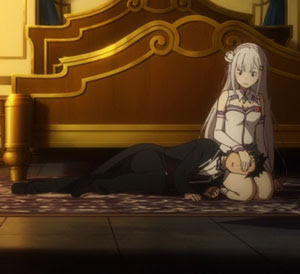 Lap pillow, Emilia and Subaru