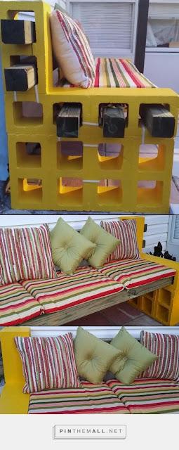 Roster Beton sebagai sofa outdoor dengan finishing cat