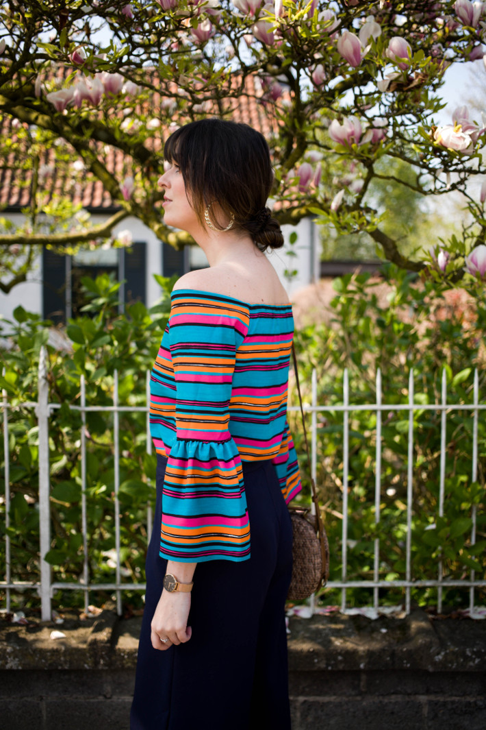 Outfit: rainbow striped off shoulder top
