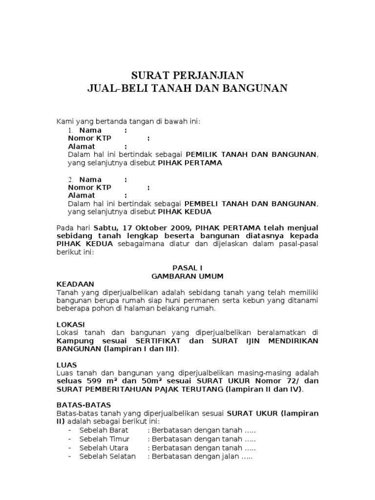 Contoh Surat Pernyataan Jual Beli Tanah Dan Bangunan