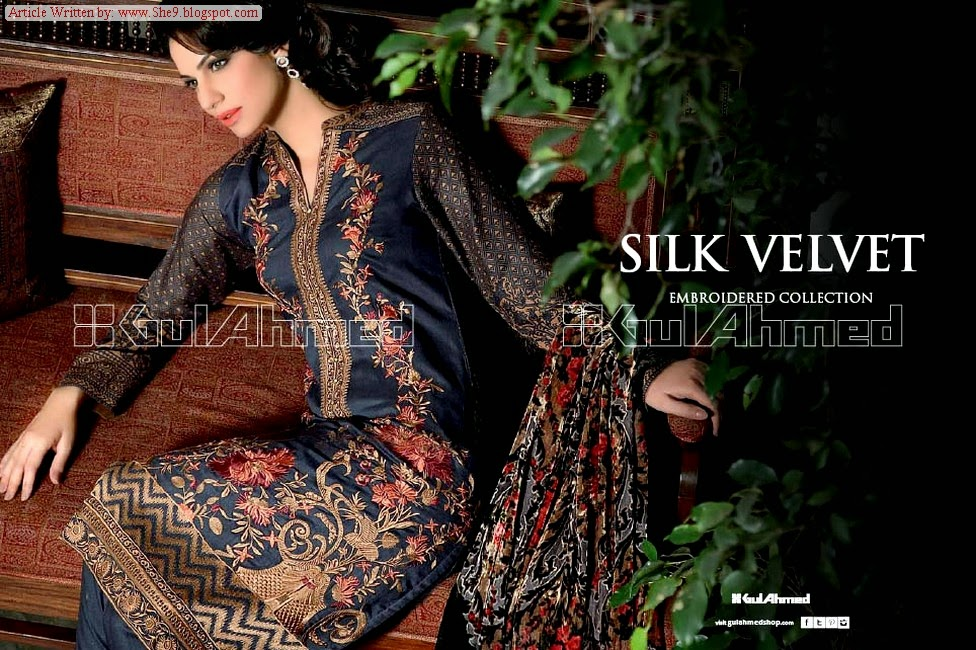 89ea58b09e Gul Ahmed Velvet Dress Collection for Winter / Fall 2014-2015 - She9 ...