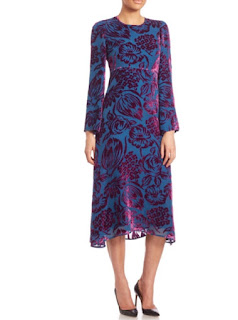 Etro burnout velvet blue and red jacquard print babydoll midi dress with long sleeves
