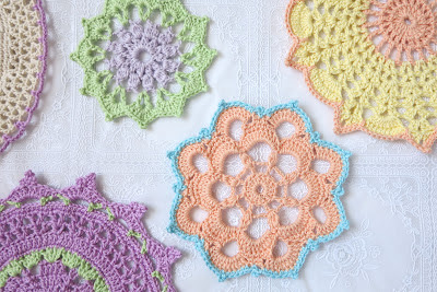ByHaafner, crochet, pastel, doilies, doily, vintage style, granny chic