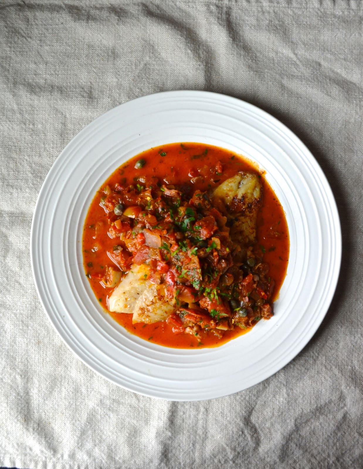 Broiled Fish with Rustic Mediterranean Tomato, Onion & Caper Sauce