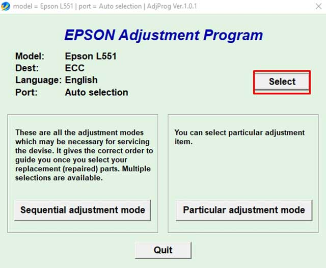 seleccionar el modelo impresora epson l551