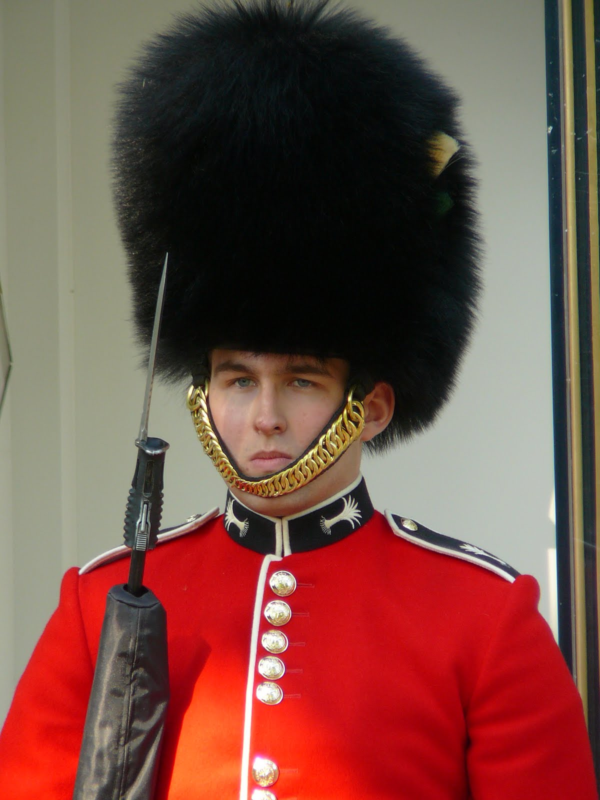 Queen's Guard points bayonet at Buckingham Palace 'intruder' |Buckingham Palace Guards Hats