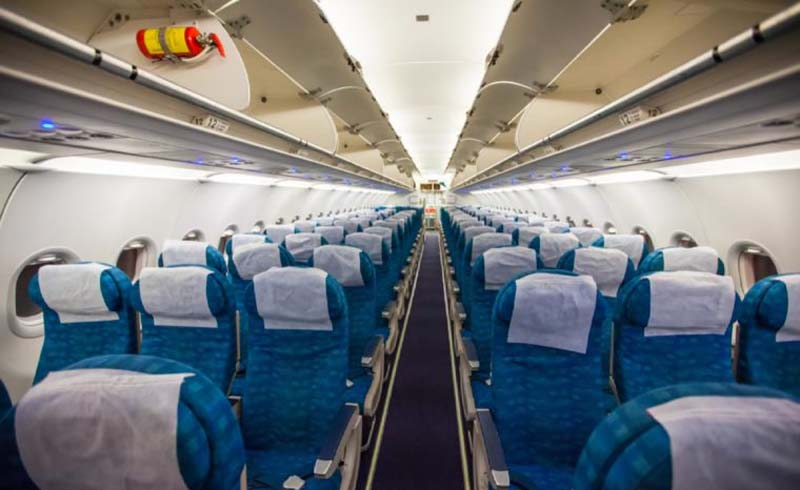 Advice, Airplane interior without passengers