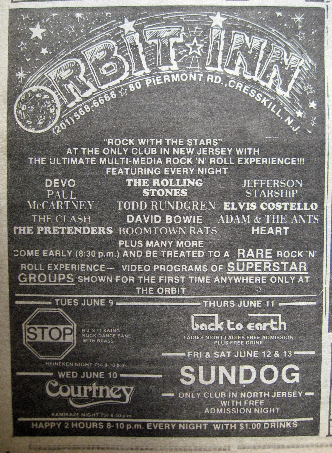Orbit Inn band line up 1981