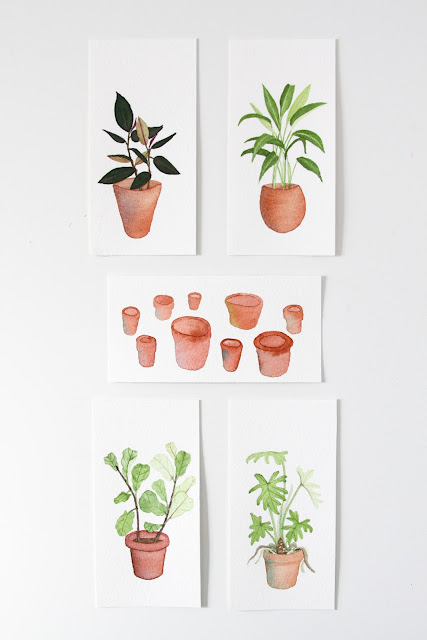 watercolor paintings, watercolor plants, watercolor flowerpots, Anne Butera, My Giant Strawberry