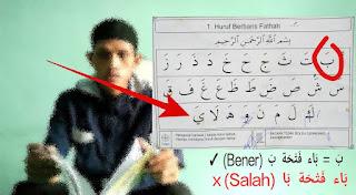 Belajar Baghdadiyah Halaman 2: Mengenal Huruf Berharakat Fathah