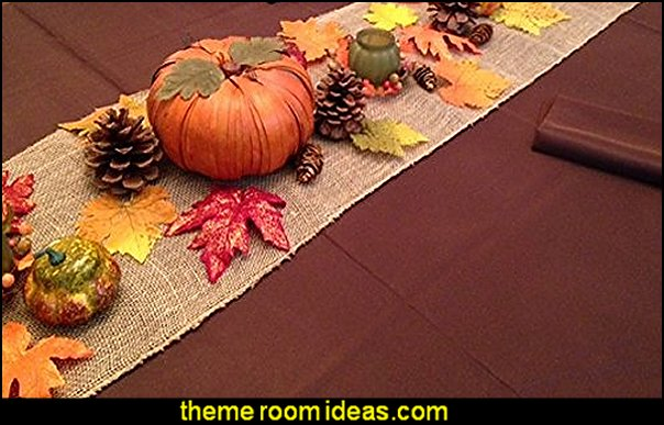 Thanksgiving Tablecloth, napkins and decorative setting in a box, set includes Chocolate brown linens with a decorative burlap runner