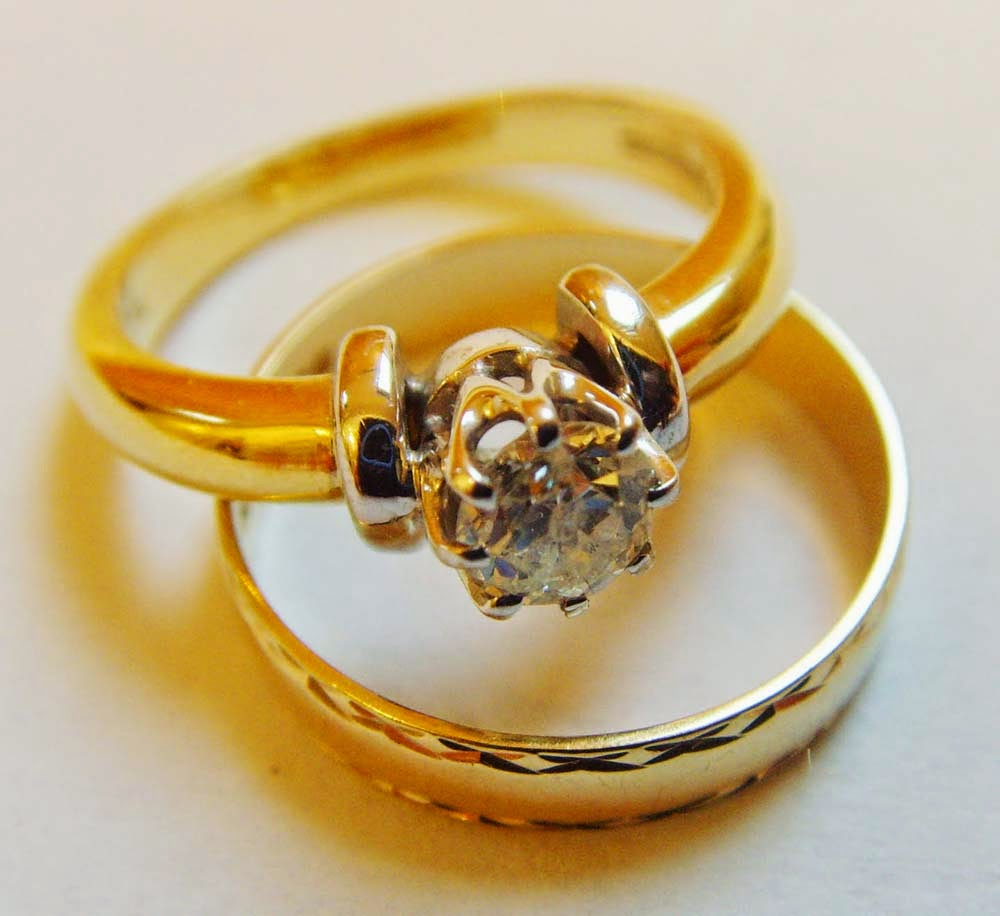 Cheap Matching Wedding Ring Sets Yellow Gold Model