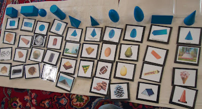 Geometric Solids Sorting Cards Laid Out (Photo from To the Lesson!)
