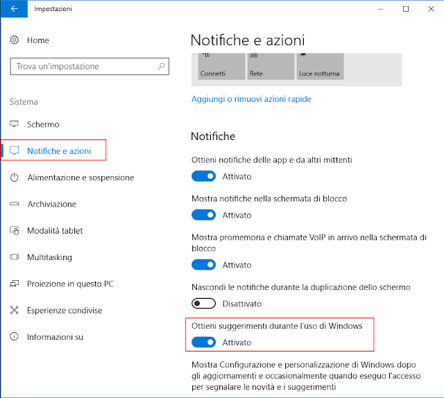 Windows 10, Ottieni suggerimenti durante l'uso di Windows