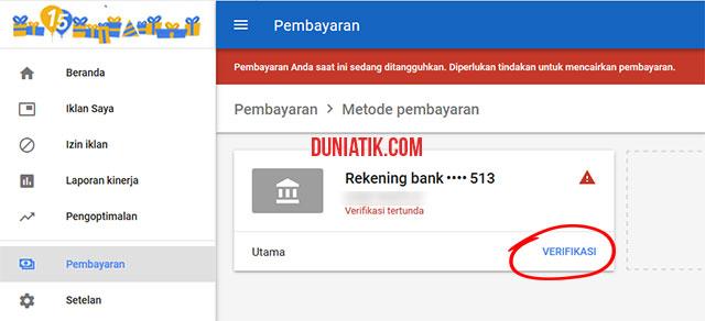 cara verifikasi bank google adsense