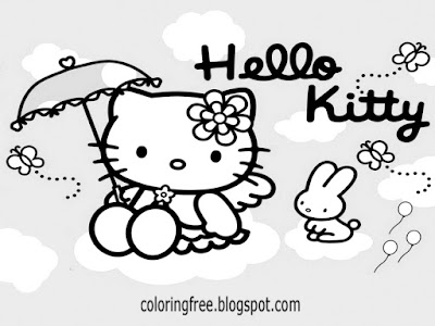 Large rain umbrella cat and Hello kitty angle coloring sheets free cute printables for teenage girls