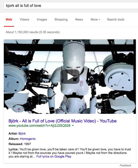 Google's Music Video Card Shows Lyrics