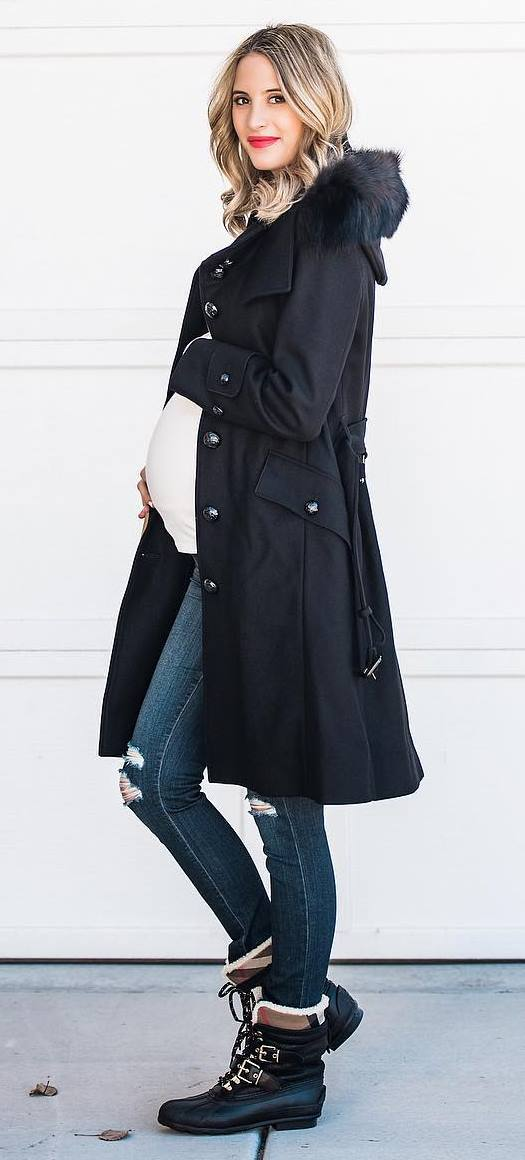 winter outfit idea : coat + white top + skinny jeans + boots