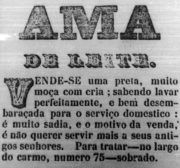 Anúncio classificado do fim do século XIX com venda de escrava