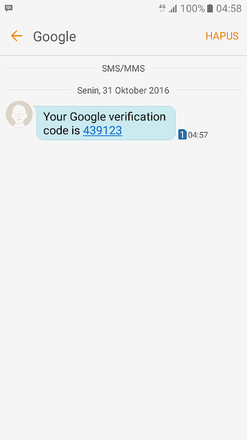 Cek SMS Kode Verifikasi Akun Gmail Baru