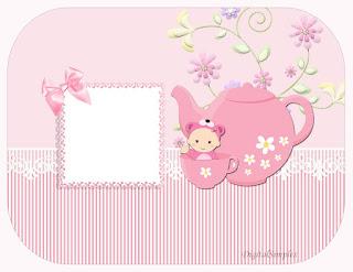 Para hacer invitaciones, tarjetas, marcos de fotos o etiquetas, para imprimir gratis de Bebé Niña en Rosa.