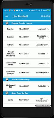 تحميل تطبيق Live Football لمشاهدة جميع المباريات و الدوريات الكبرى مباشرة بدون تقطيع على هاتفك الاندرويد
