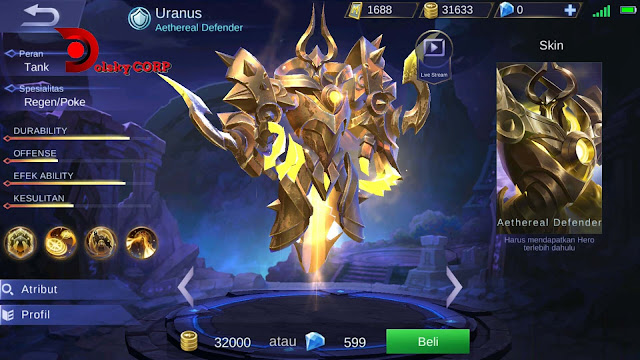 Mobile Legends : Hero Uranus ( Aethereal Defender ) Tanker Builds Set up Gear