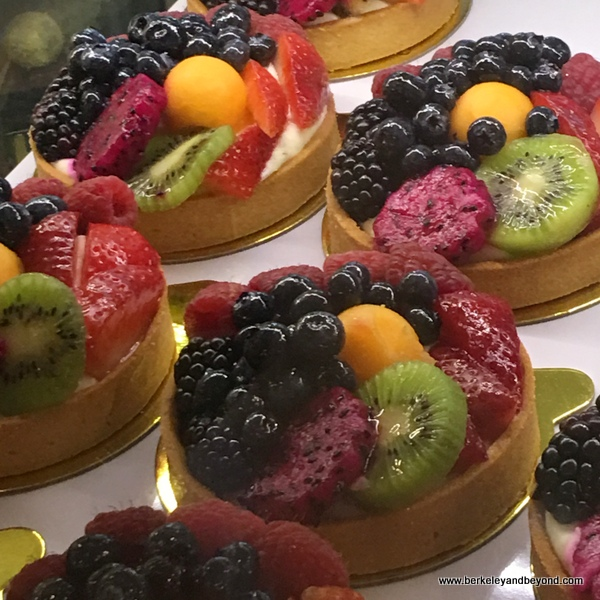 colorful fruit tarts at Bakery Lorraine in the Pearl in San Antonio, Texas