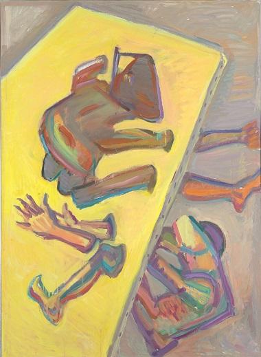 by Maria Lassnig - Con la testa attraverso il muro - 1985