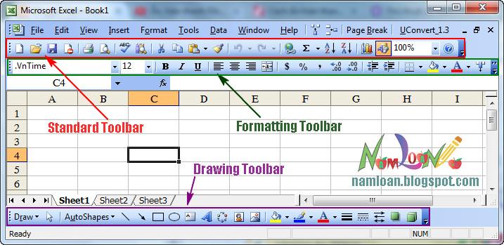 Ẩn hiện thanh Toolbar công cụ trong excel 2003