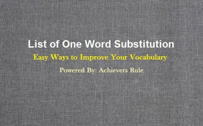List of One Word Substitution