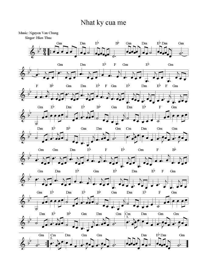 sheet piano nhat ky cua me